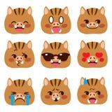 Dzikiego knura Emoji Avatar wyrażenia royalty ilustracja