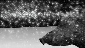Dzikiego knura nowy rok 2019 w zima lasu animacji ilustracji
