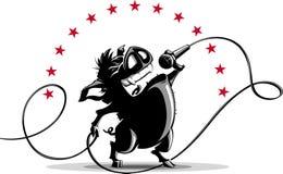 Dzikiego knura śpiew w mikrofon Zdjęcie Stock