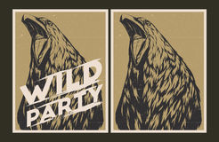Dzikiego przyjęcia zaproszenia szablon ilustracja wektor