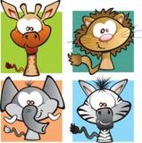 Dzikiej dżungli kreskówki Zwierzęcy set Obraz Royalty Free