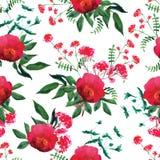 Dzikiej różanej akwareli bezszwowy wektorowy druk Obraz Stock