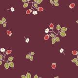 Dzikiej truskawki zmroku wzór 2 Zdjęcia Stock
