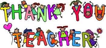 Dziękuje Ciebie nauczycieli dzieciaki Fotografia Royalty Free