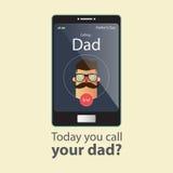 Dzisiaj dzwonisz twój tata ty Ojca dnia karta Obrazy Stock