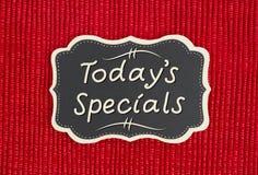 Dzisiaj ` s dodatków specjalnych znak fotografia stock