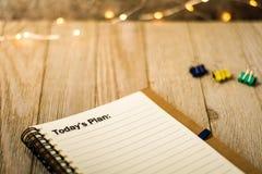 Dzisiaj ` s plan na notatniku jako motywacyjny biznesowy pojęcie Zdjęcia Stock