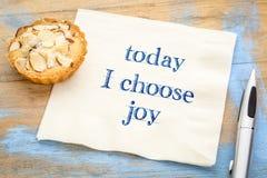 Dzisiaj wybieram radość - tekst na pielusze fotografia stock