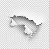 Dziura drzejąca w rozdzierającym papierze na przejrzystym ilustracji