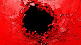 Dziura na łamanej czerwieni ściany pustej przestrzeni ilustracja 3 d ilustracja wektor