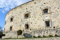 Dziura po kuli w kamiennej ścianie cytadela w Budapest zdjęcie stock