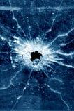 Dziura po kuli w szklanym okno Zdjęcia Royalty Free