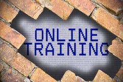 Dziura W ściana z cegieł Z onlinego szkolenia słowem Obraz Stock