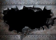 Dziura w metalu opancerzenia kontrpary ruchu punków tle Obraz Stock