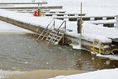 Dziura w zimy morzu w Helsinki Fotografia Royalty Free
