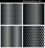 Dziurkowaty metalu tła set Zdjęcia Stock