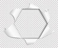 Dziury drzeć w papierze na przejrzystym tle sześciokąt wektor royalty ilustracja