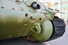 Dziury na ciele Radziecki średni zbiornik T-34 modelują 1941 Zdjęcie Stock