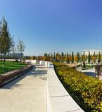 Dziwaczna architektura nowy miasto park kultura i odtwarzanie blisko Krasnodar stadium pogodny jesień dzień obraz royalty free