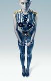 Dziwaczna astronautyczna kobieta w srebnym kostiumu Obrazy Stock