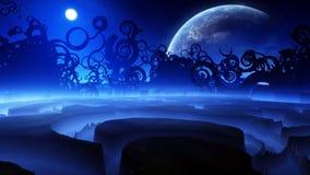 Dziwaczna fantazja krajobrazu noc ilustracji