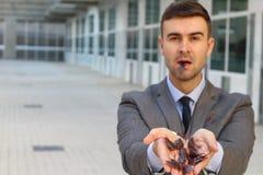 Dziwaczne biznesmena łasowania płocie przy pracą zdjęcie stock
