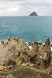 Dziwaczne skały & rockowe formacje w Keelung, Tajwan Zdjęcia Royalty Free