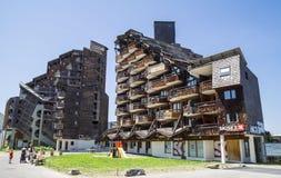 Dziwaczni drewniani budynki w Avoriaz, Francja Zdjęcie Royalty Free