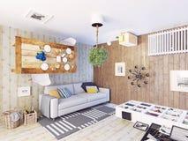 Dziwaczny żywy pokój ilustracja wektor
