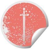 dziwaczny zak?opotany k??kowy obieranie majcheru symbolu kordzik ilustracja wektor