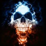 Dziwna punkowa czaszka - burza i błyskawica royalty ilustracja