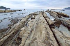 Dziwnie kształtny skała park nazwany Tatsukushi fotografia stock