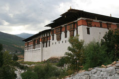 The dzong of Paro, Bhutan, was built at the top of a hill Royalty Free Stock Photos