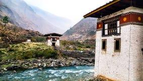 Dzong velho em Paro, Butão Foto de Stock