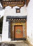 Dzongen av jakar, Bhutan Fotografering för Bildbyråer