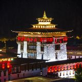 Central tower of Trashi Chhoe Dzong in night , Thimphu , Bhutan stock image