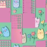 Dzwi od podwórza na zewnątrz kota śmiesznego bezszwowego wzoru Royalty Ilustracja