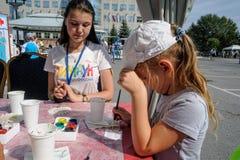 Dzwi Otwarty Sberbank dla dzieci piękno Tyumen Obrazy Stock