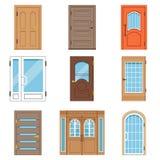 Dzwi wejściowy, kolekcja rocznik i nowożytni drzwi, domy i budynku wektoru ilustracje ilustracji