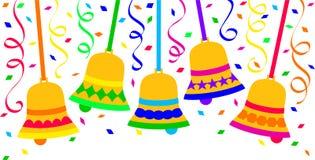 dzwonów świętowania confetti eps fiesta Obrazy Stock