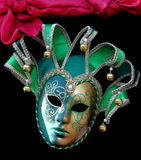 dzwonów karnawału zieleni dowcipnisia maska Zdjęcie Royalty Free