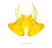 dzwonów złota odosobniony symbol dwa Obrazy Stock