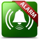 Dzwon alarmowy ikony zieleni kwadrata guzik Zdjęcie Royalty Free
