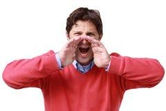 Dzwoniący mężczyzna wrzask - krzyk - Obraz Stock