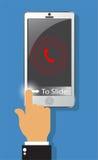Dzwonić ostrzegający na ekranie smartphone i dotyk ono ślizgać się dla u ilustracja wektor
