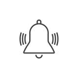 Dzwonienia Bell linii ikona, alarmowa konturu loga ilustracja, Obrazy Royalty Free