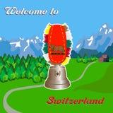 Dzwonienie dzwon zaprasza ciebie Szwajcaria ilustracji