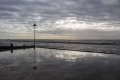 Dzwonkowa nabrzeże plaża przy morzem, Essex, Anglia obraz royalty free