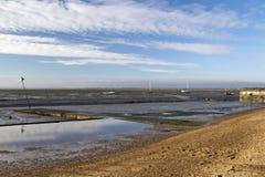 Dzwonkowa nabrzeże plaża przy morzem, Essex, Anglia obrazy stock