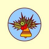 Dzwonkowej dekoraci ikony Wesoło boże narodzenia I Szczęśliwa ręka Rysująca nowego roku pojęcia zimy wakacji kolekcja Fotografia Stock